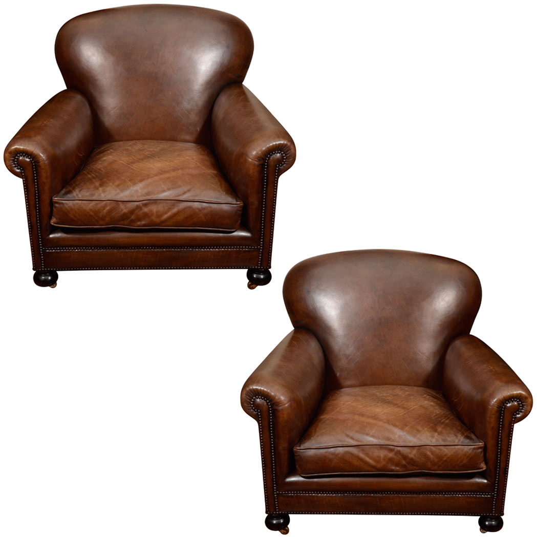 Lot image - Pair of English Leather Upholstered Club Chairs