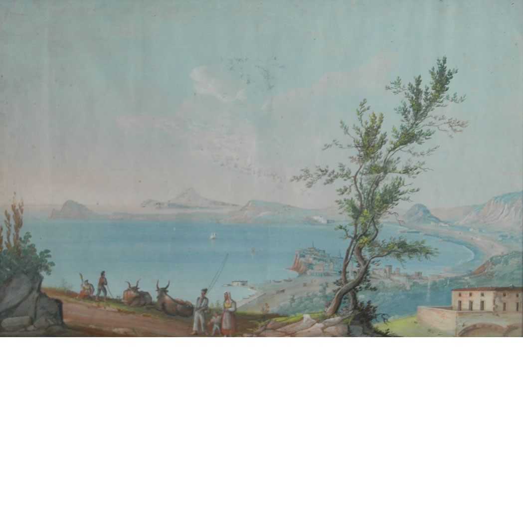 Lot image - Italian School 19th Century The Bay of Naples and Mount Vesuvius: Two