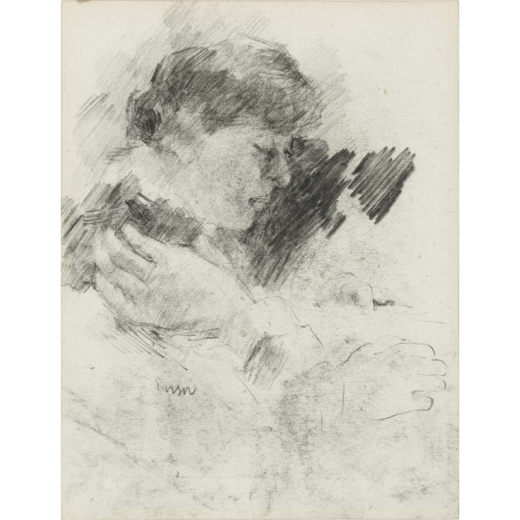 Lot image - Attributed to James Ensor Belgian, 1860-1949 Tete de Femme and Sketch of Two Figures: a double-sided work   ...