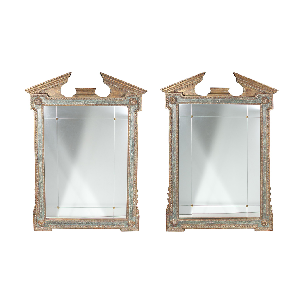 Lot image - Pair of Georgian Style Parcel Gilt and Painted Wood Mirrors