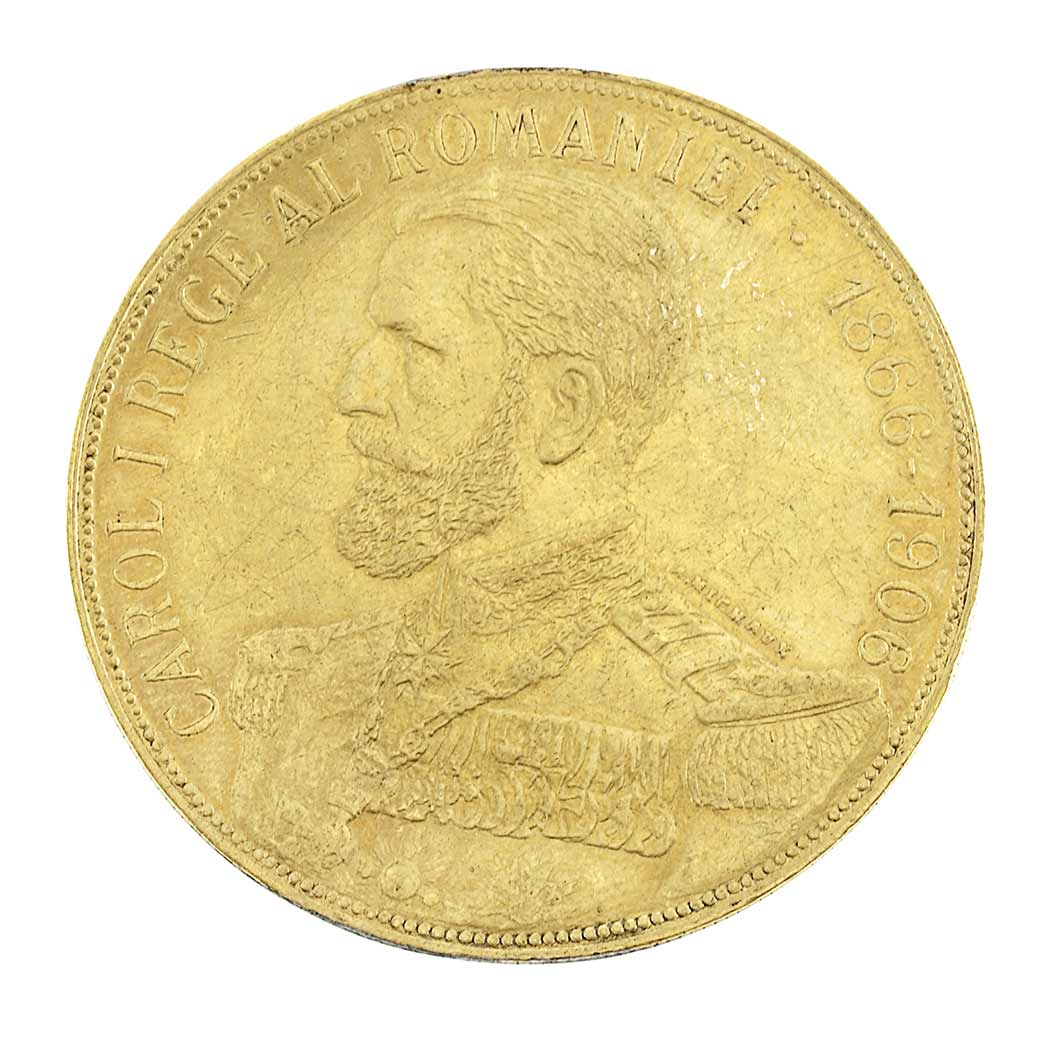 Romania 1906 50 Lei Anniversary Gold Coin for Sale at