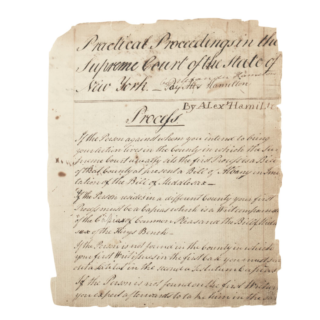 Lot image - [MANUSCRIPT - HAMILTON, ALEXANDER]  Practical Proceedings in the Supreme Court of the State of New York