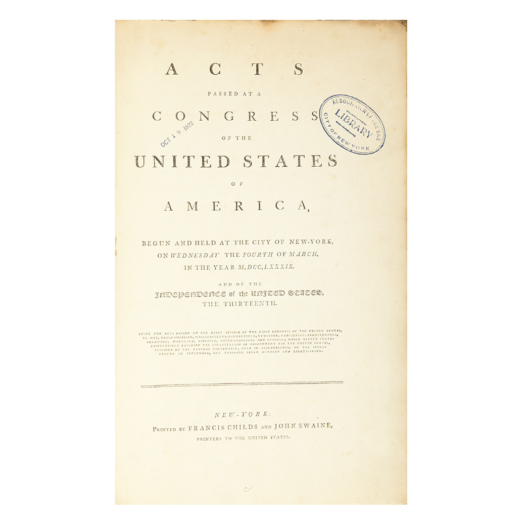 Lot image - [UNITED STATES] Acts Passed at a Congress of the United States of America, begun and held at the City of New-York, on Wednesday...