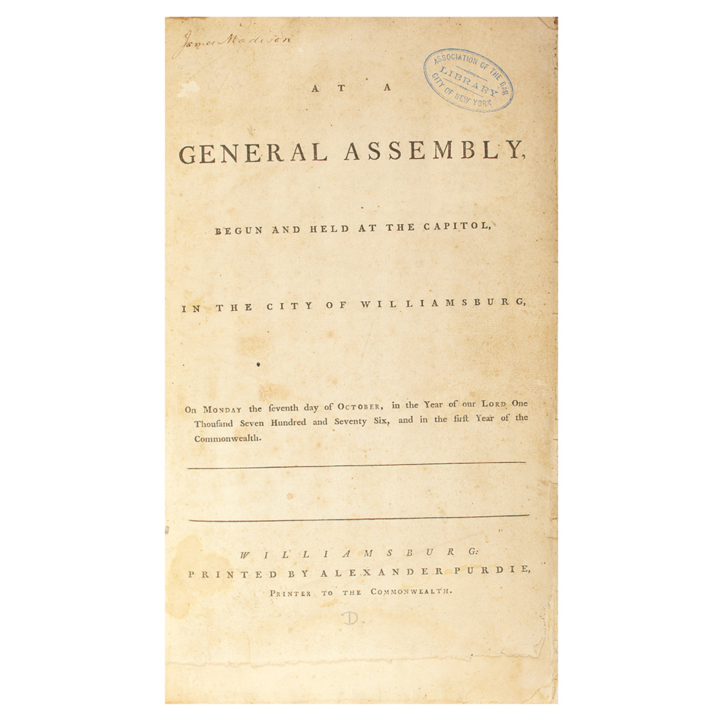 Lot image - [VIRGINIA]  At A General Assembly begun and held at the Capitol in the City of Williamsburg, on Monday the seventh day of October, in the year of our Lord one thousand seven hundred and seventy six, and in the first year of the Commonwealth