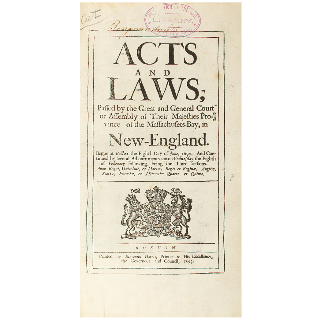 Lot image - [MASSACHUSETTS]  A collection of 17th century Massachusetts Acts bound together