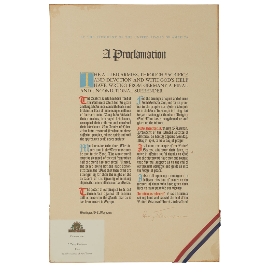 Lot image - TRUMAN, HARRY  Signed Proclamation upon the Unconditional Surrender of Germany