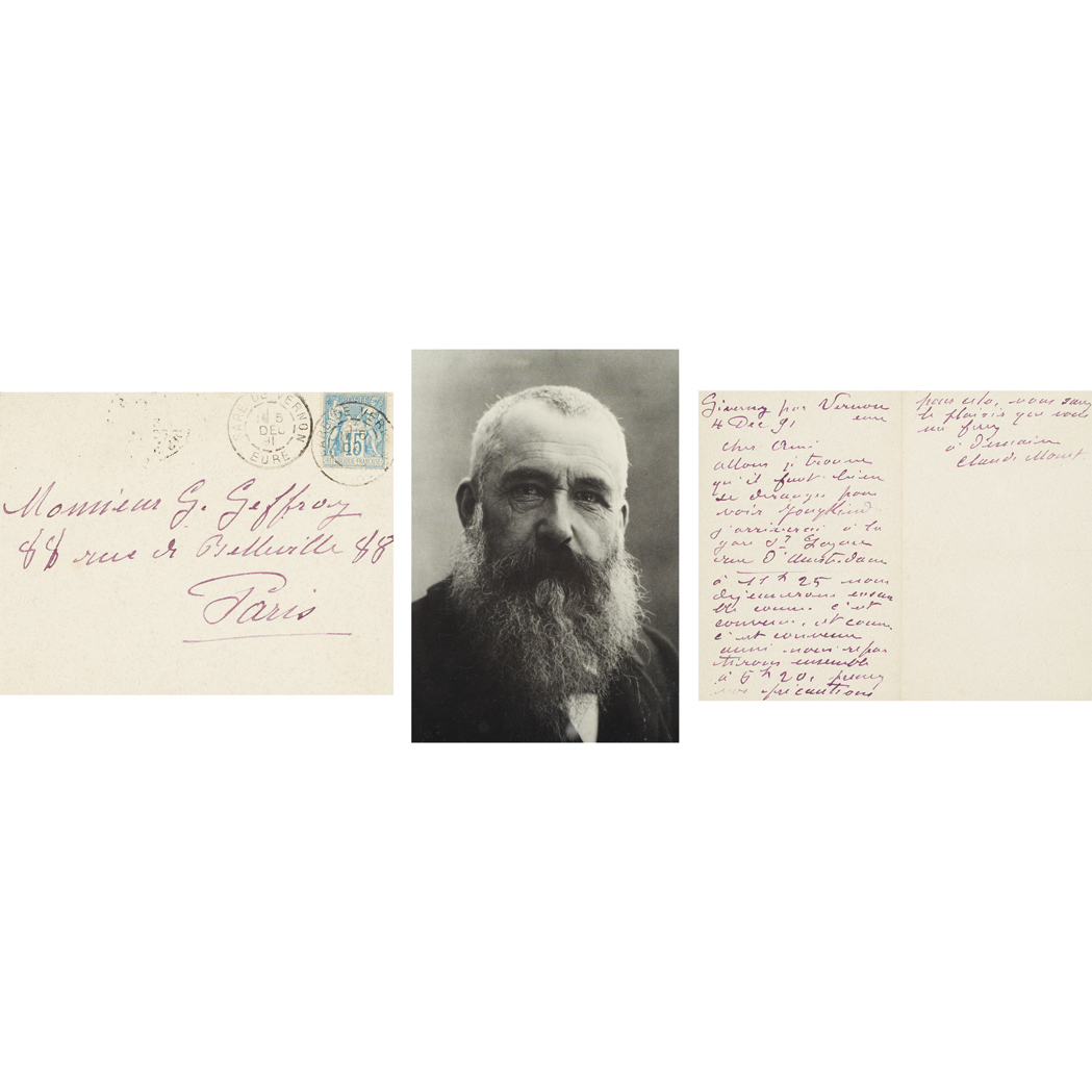 Lot image - MONET, CLAUDE  Autograph letter signed to Gustave Geoffroy
