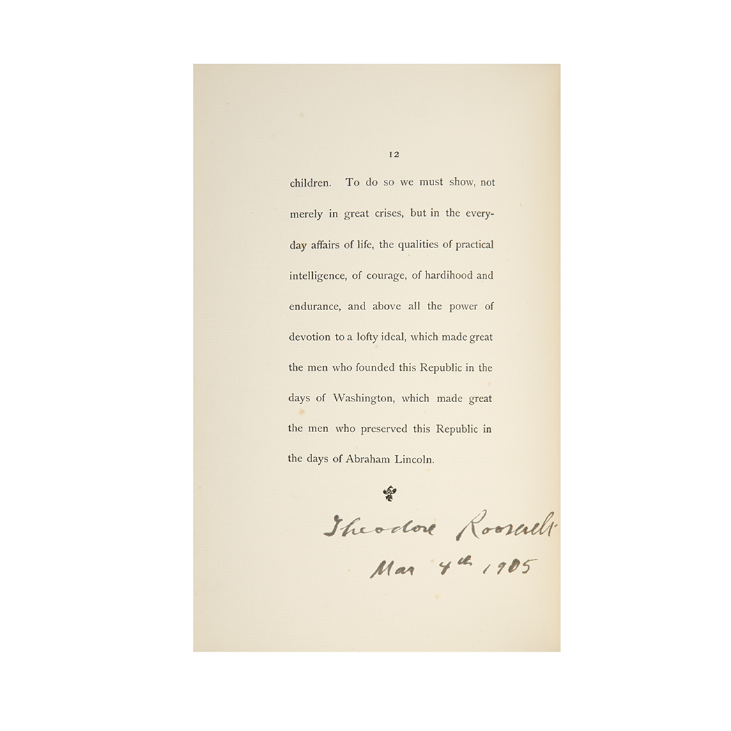 Lot image - ROOSEVELT, THEODORE  Inaugural Address of President Roosevelt, March 4 1905