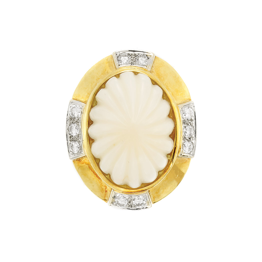 Lot image - Gold, Fluted White Coral and Diamond Ring, R. Stone