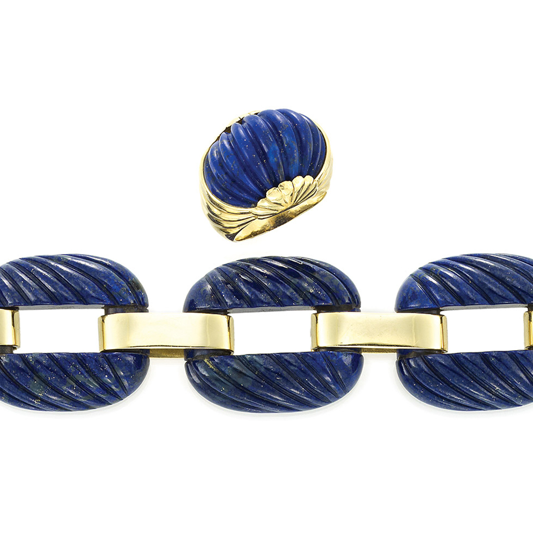 Lot image - Gold and Fluted Lapis Bracelet and Ring