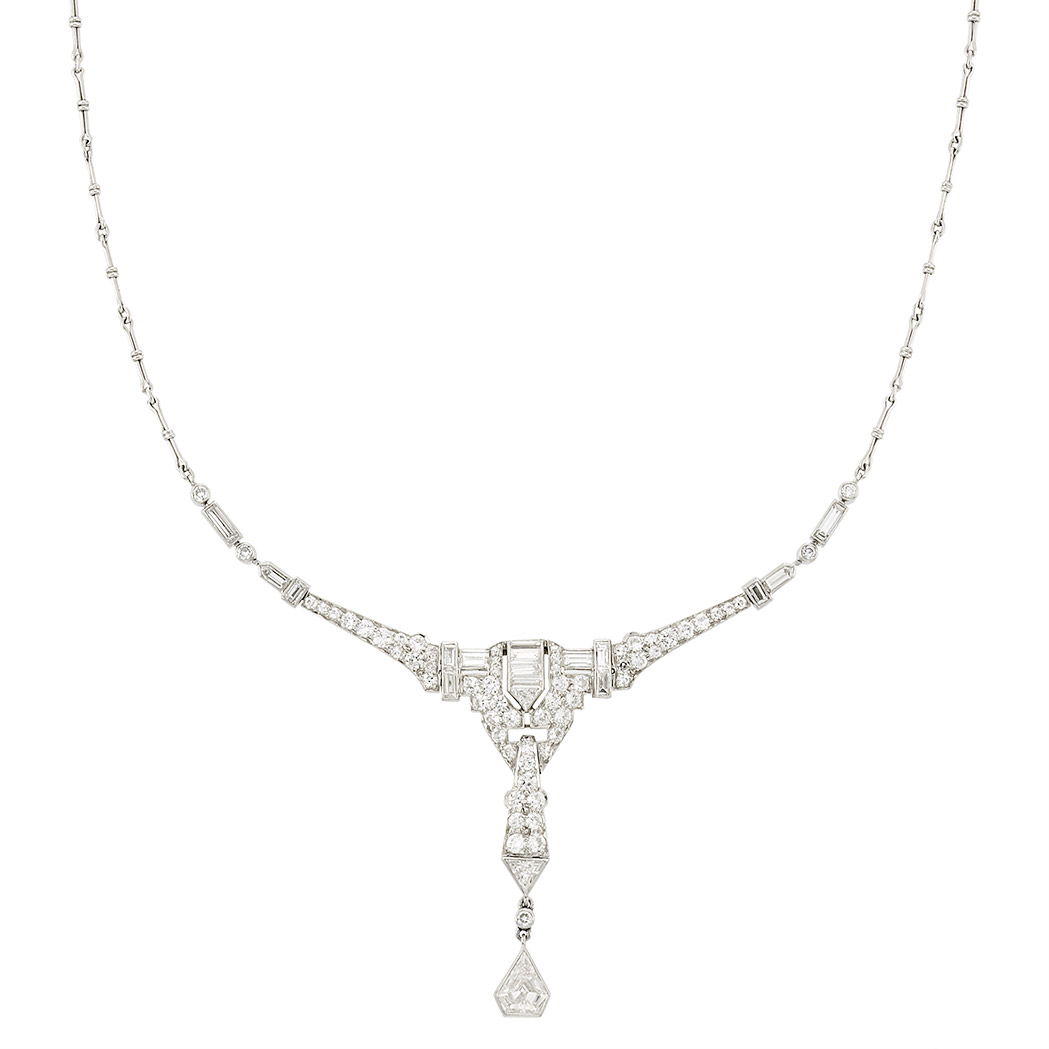 Lot image - Platinum and Diamond Necklace, Tiffany & Co.