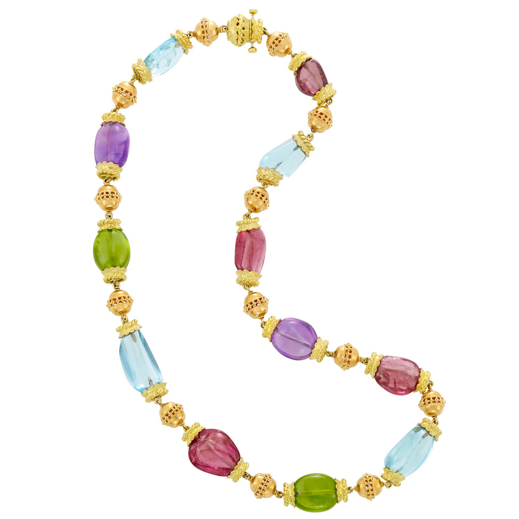Lot image - Gold and Tumbled Colored Stone Bead Necklace, David Webb