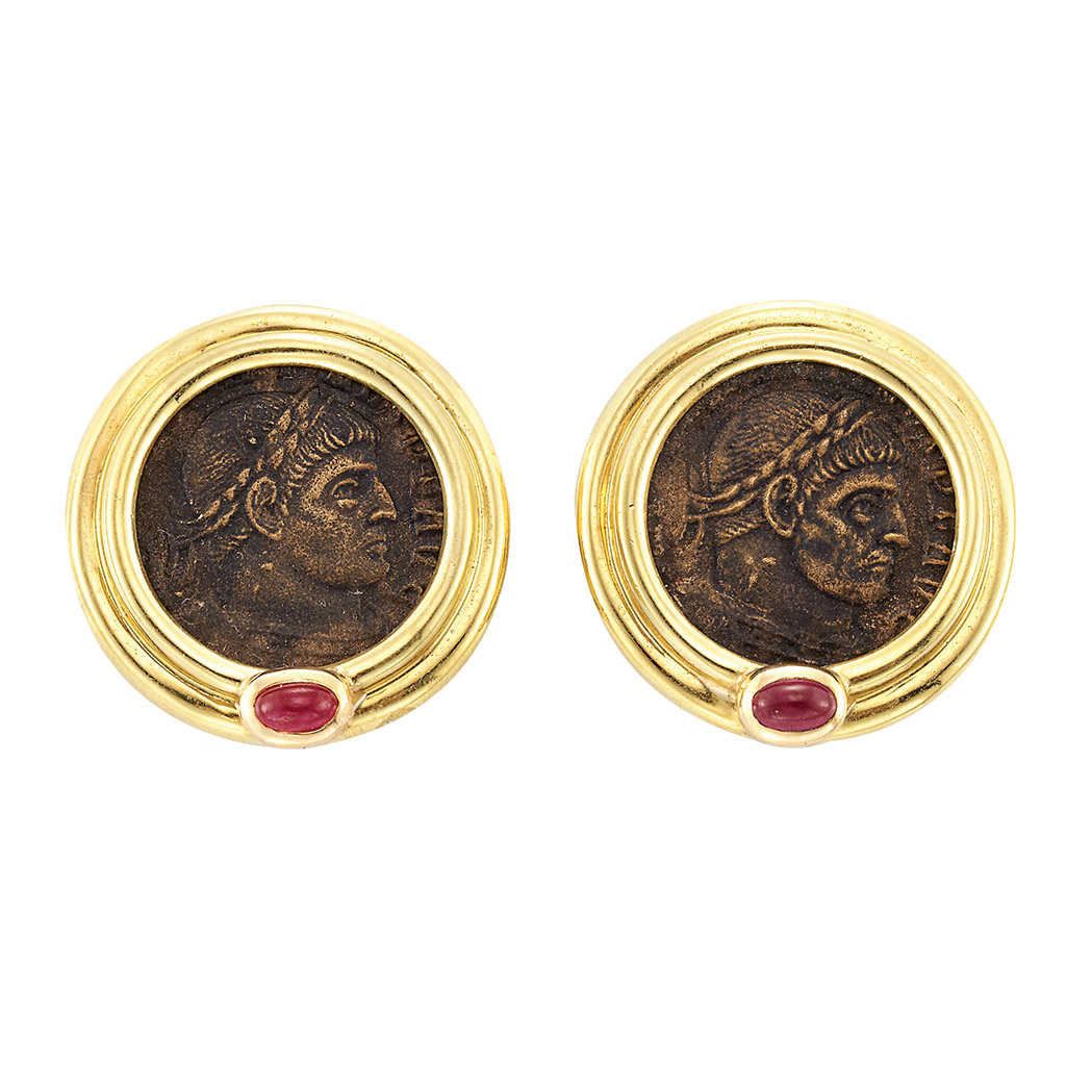 Lot image - Pair of Gold, Bronze Coin and Cabochon Ruby Earclips
