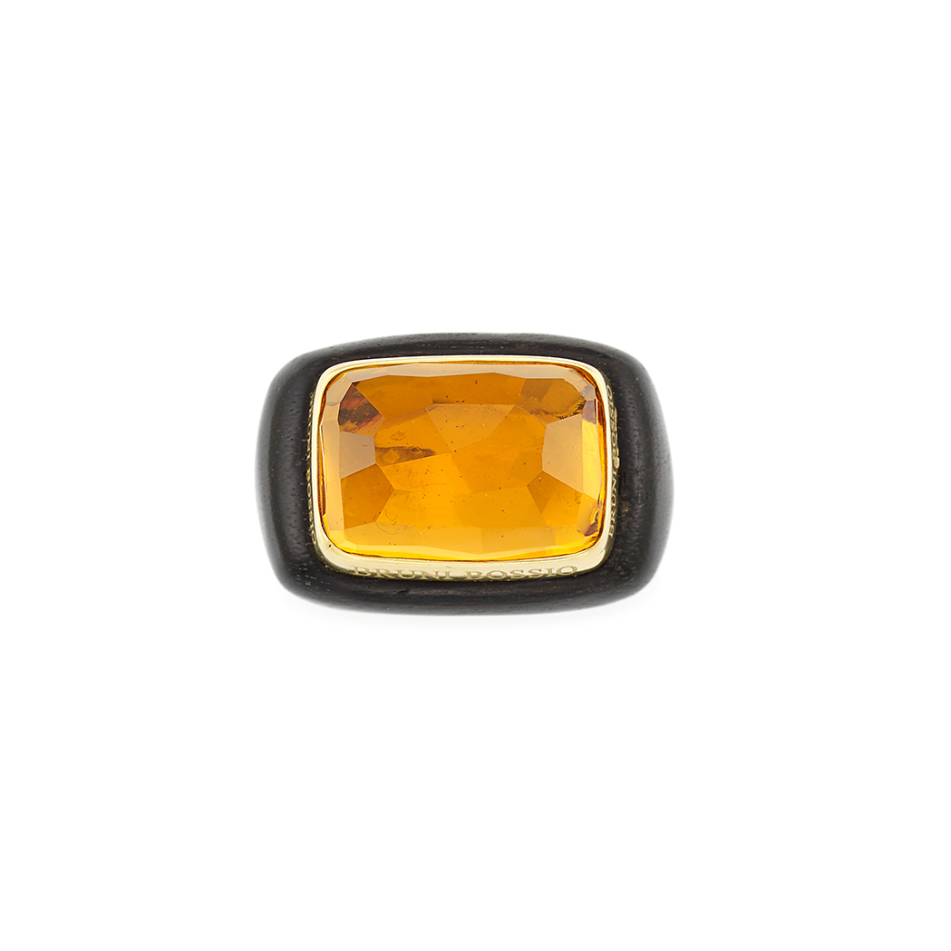Lot image - Wood, Gold and Citrine Ring, Bruni Bossio