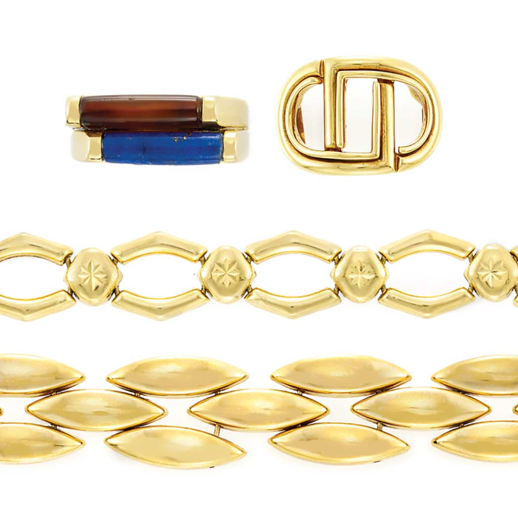 Lot image - Gold, Lapis and Carnelian Ring, Andrew Clunn, Gold Ring and Two Bracelets