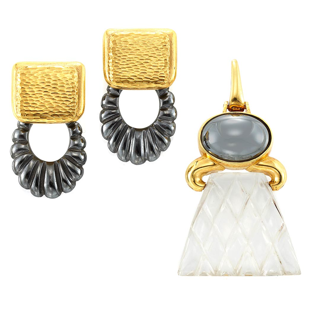 Lot image - Pair of Gold and Fluted Hematite Hoop Earclips and Gold, Hematite and Carved Rock Crystal Pendant, Andrew Clunn