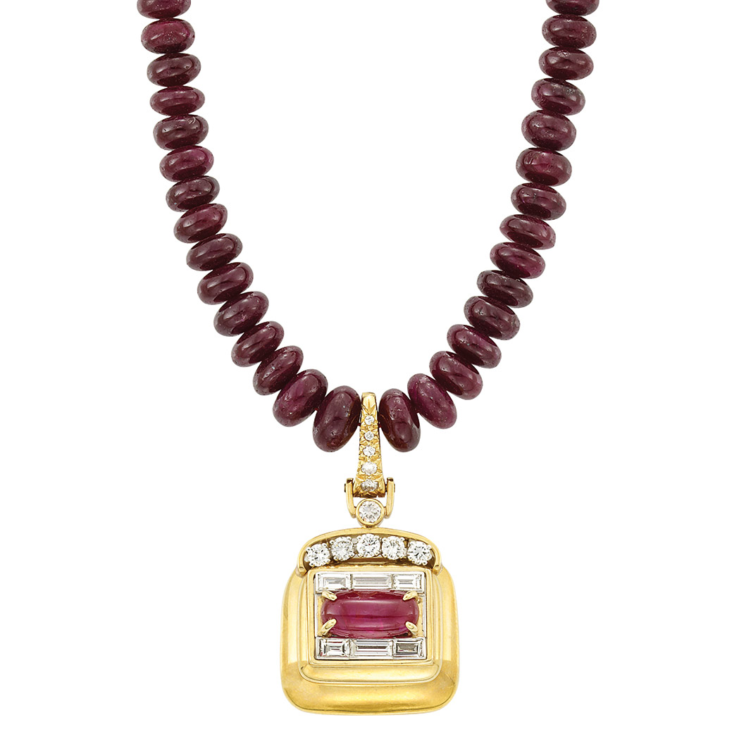 Lot image - Ruby Bead Necklace with Gold, Platinum, Cabochon Ruby and Diamond Pendant, Andrew Clunn