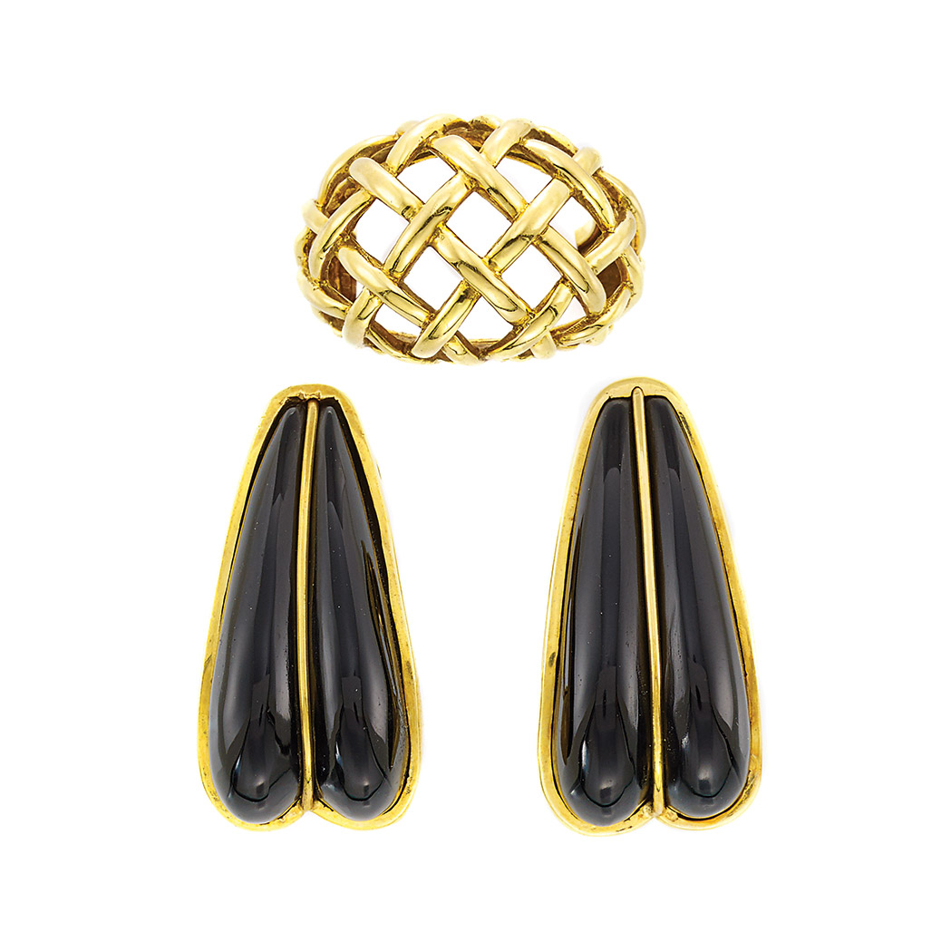 Lot image - Pair of Gold and Black Onyx Earclips and Gold Ring, Andrew Clunn