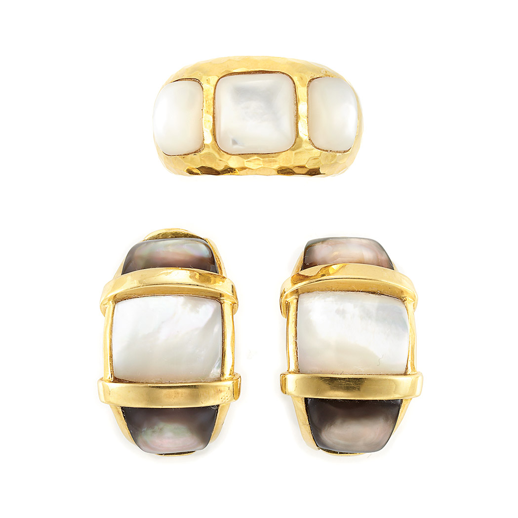 Lot image - Pair of Gold and Mother-of-Pearl Earclips and Ring, Andrew Clunn