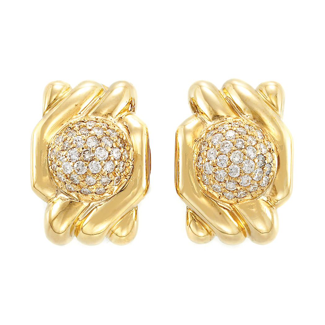 Lot image - Pair of Gold and Diamond Earrings