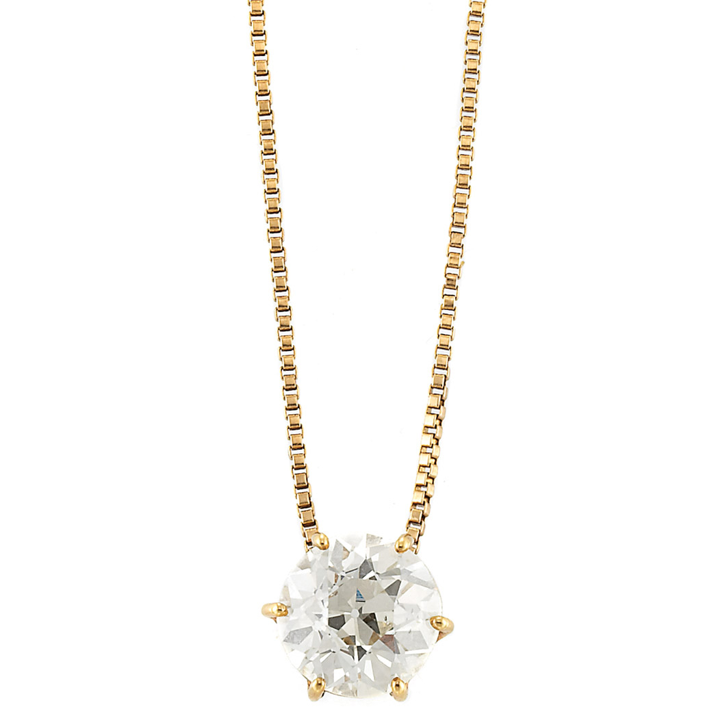 Lot image - Gold and Diamond Pendant-Necklace
