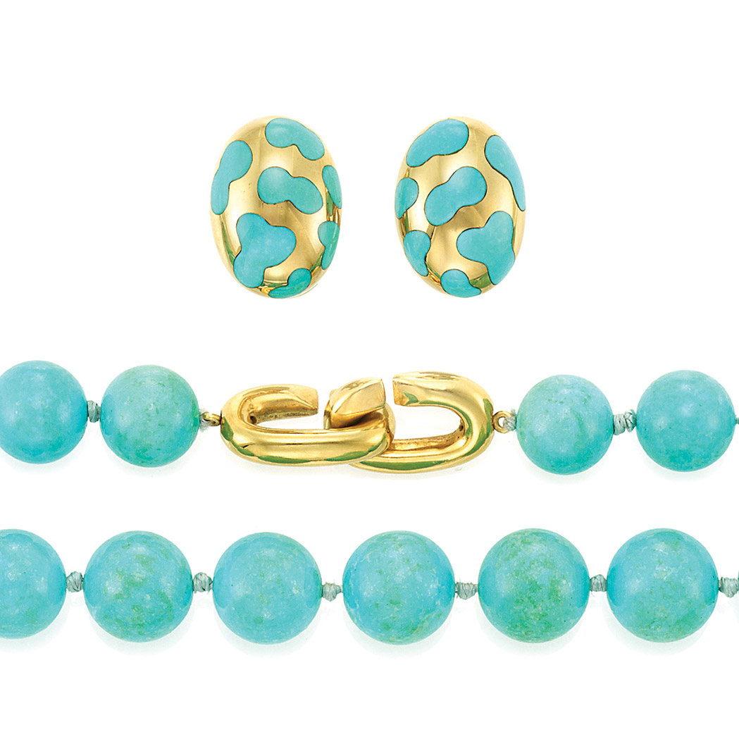 Lot image - Turquoise Bead Necklace and Pair of Gold and Turquoise Earrings, Angela Cummings