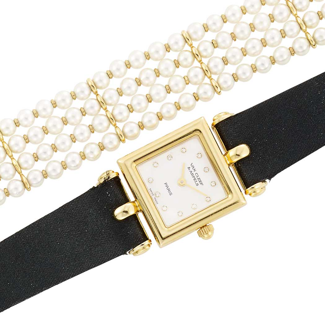 Lot image - Lady's Gold and Diamond Wristwatch with Four Interchangeable Leather Straps, Van Cleef & Arpels, Paris and Cultured Pearl Bracelet Attachment