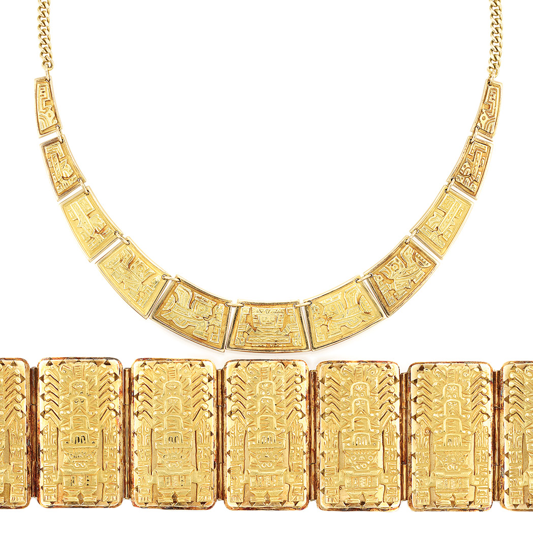 Lot image - Gold Necklace and Wide Gold Bracelet