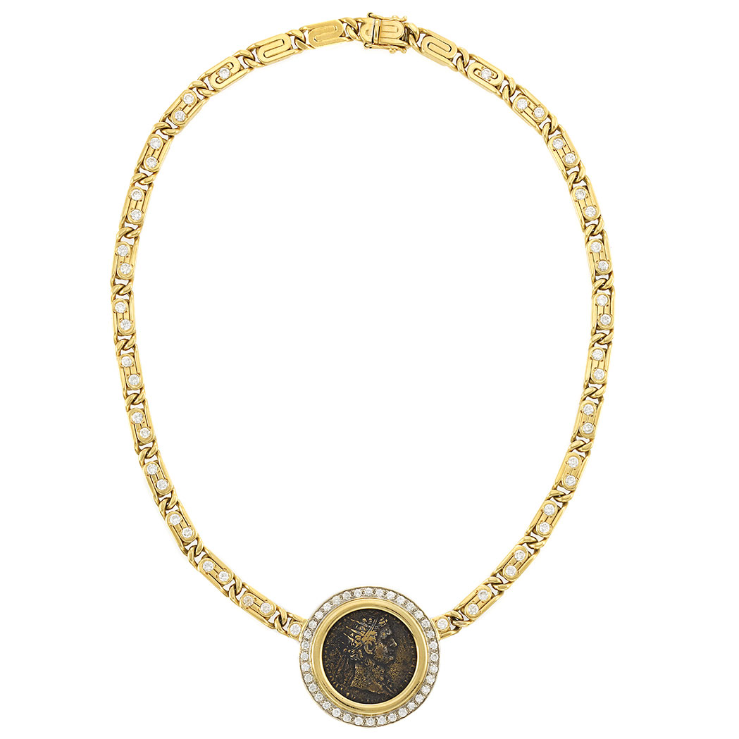 Lot image - Gold, Bronze Coin and Diamond Pendant-Necklace