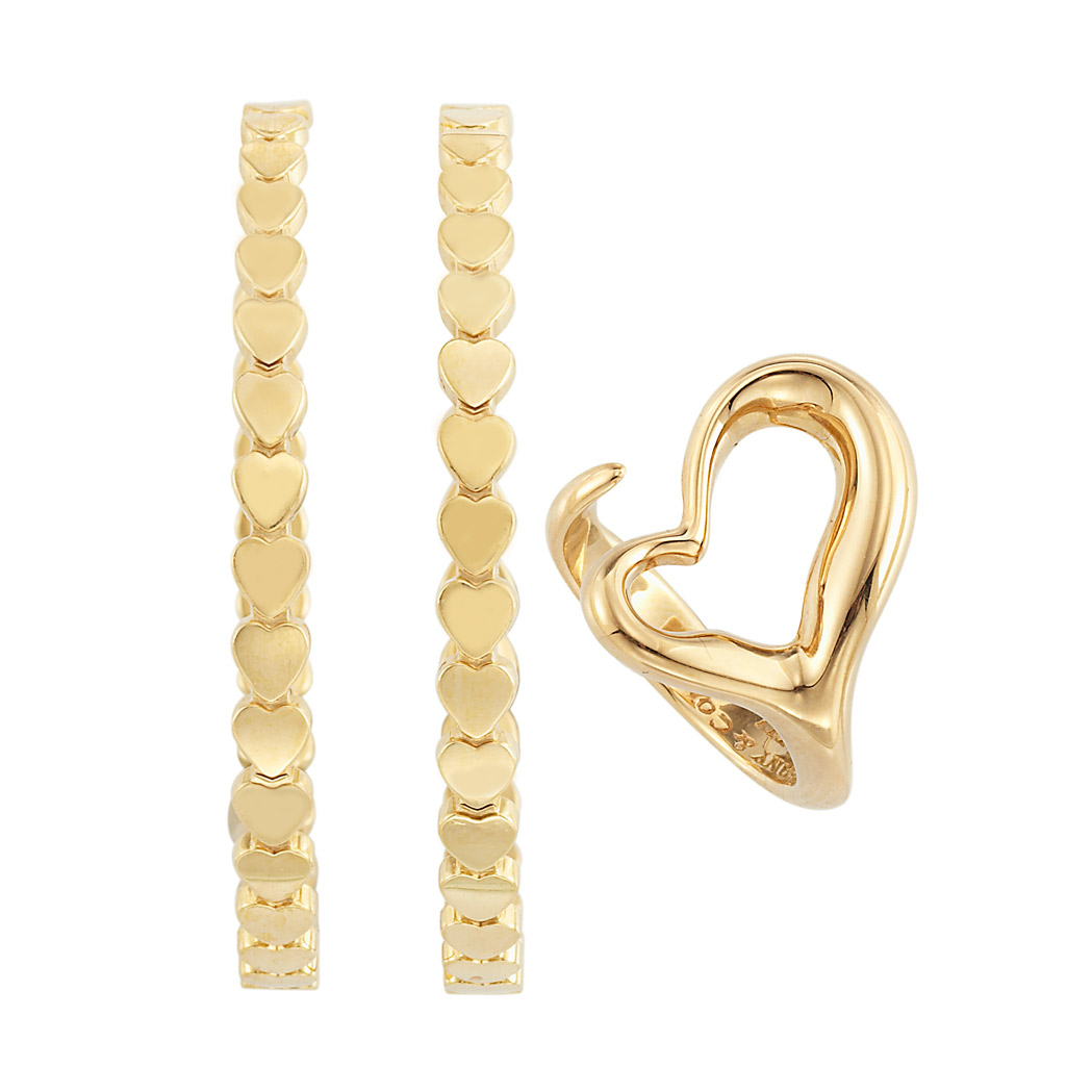 Lot image - Pair of Gold Hoop Earrings and Heart Ring, Tiffany & Co., Paloma Picasso and Elsa Peretti