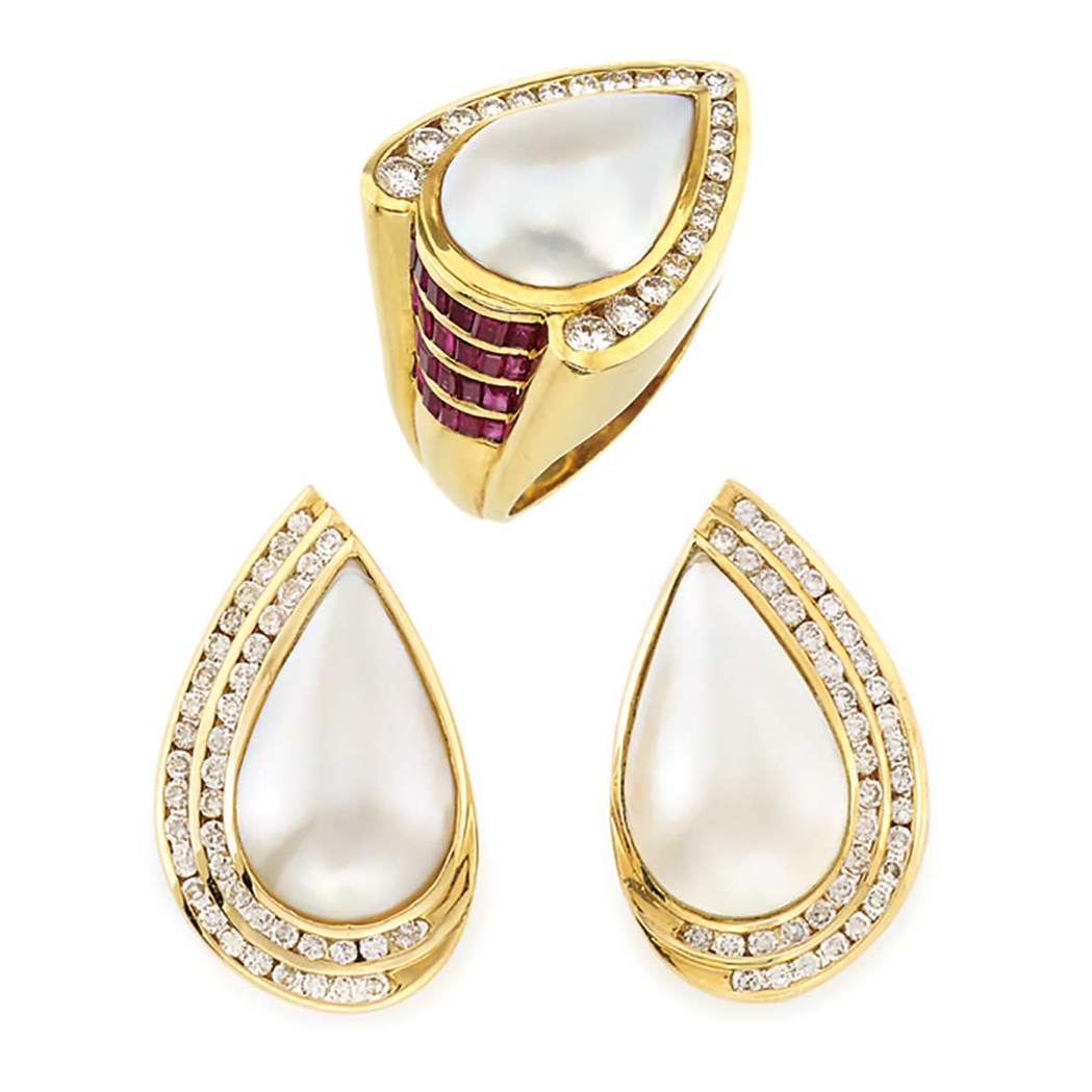 Lot image - Pair of Gold, Mabe Pearl and Diamond Earrings and Mabe Pearl, Diamond and Ruby Ring