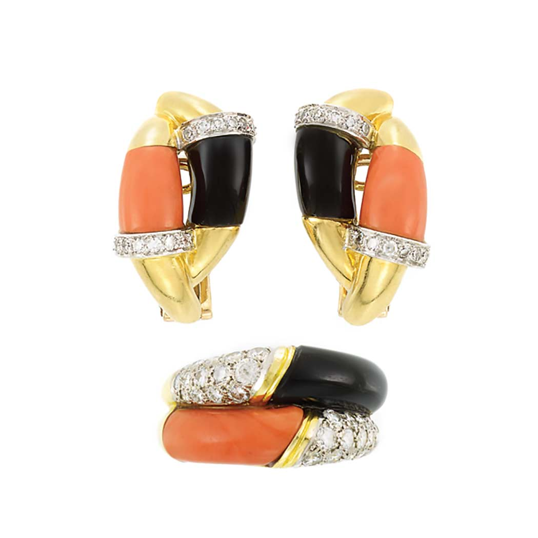 Lot image - Gold, Black Onyx, Coral and Diamond Ring and Pair of Earclips, Kutchinsky