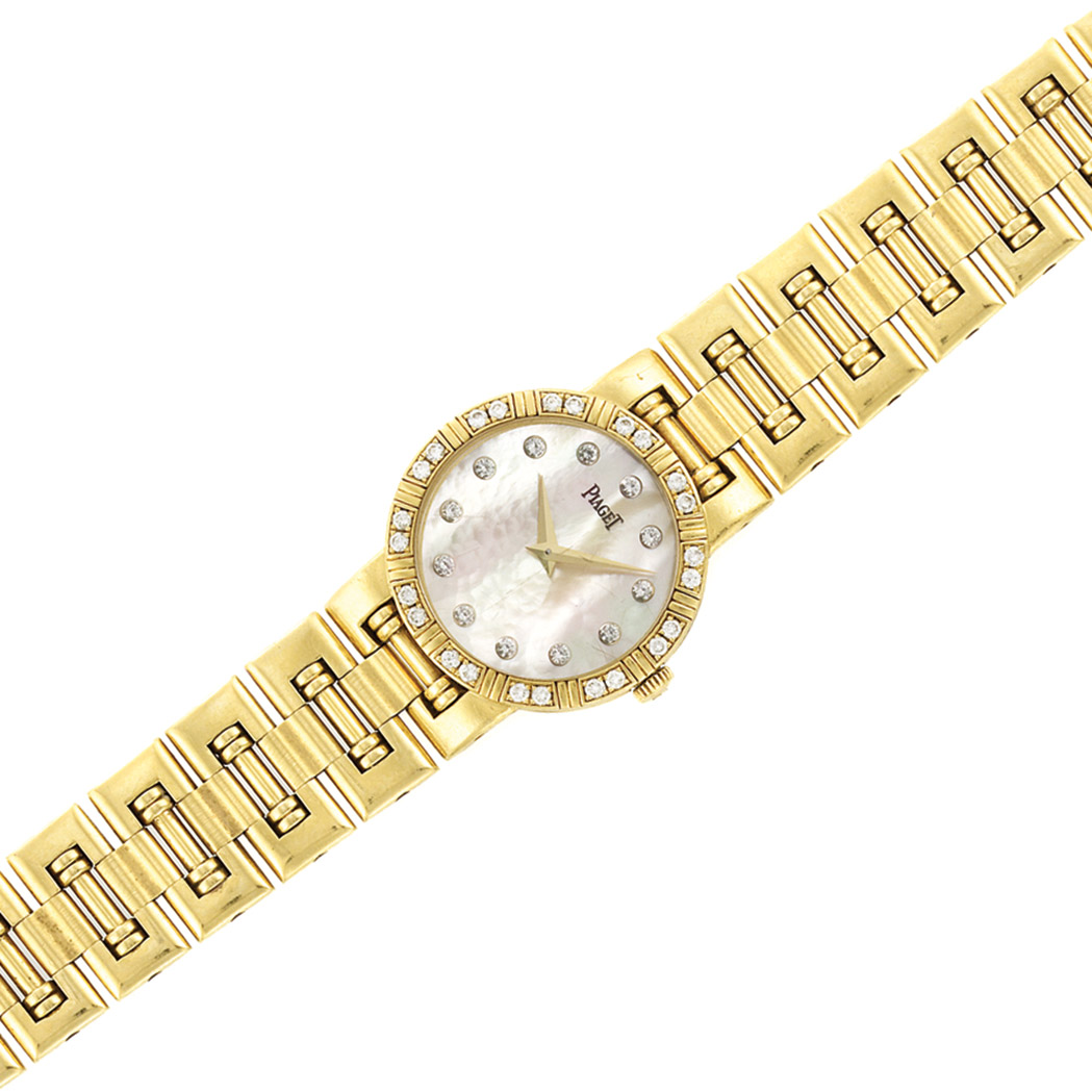 Lot image - Lady's Gold, Mother-of-Pearl and Diamond 'Mini Dancer' Wristwatch, Piaget