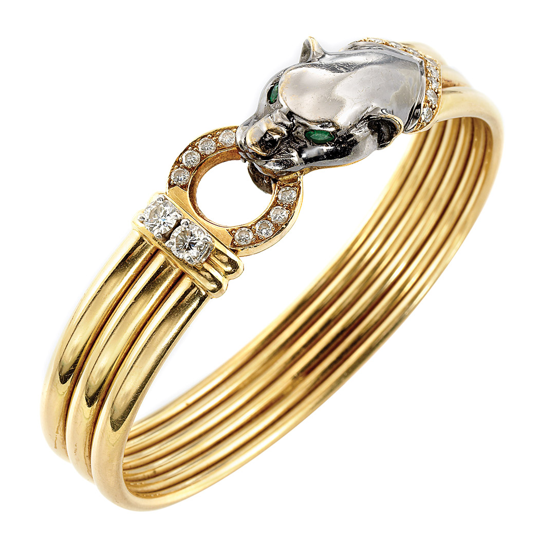 Lot image - Gold, Blackened Gold, Diamond and Emerald Panther Head Bangle Bracelet, France