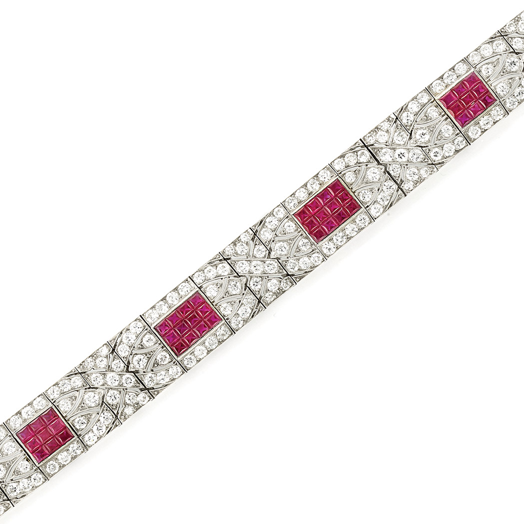 Lot image - Platinum, Diamond and Invisibly-Set Ruby Bracelet