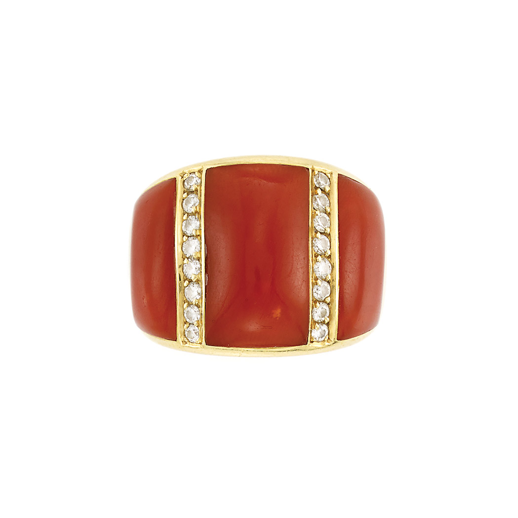 Lot image - Gold, Coral and Diamond Ring