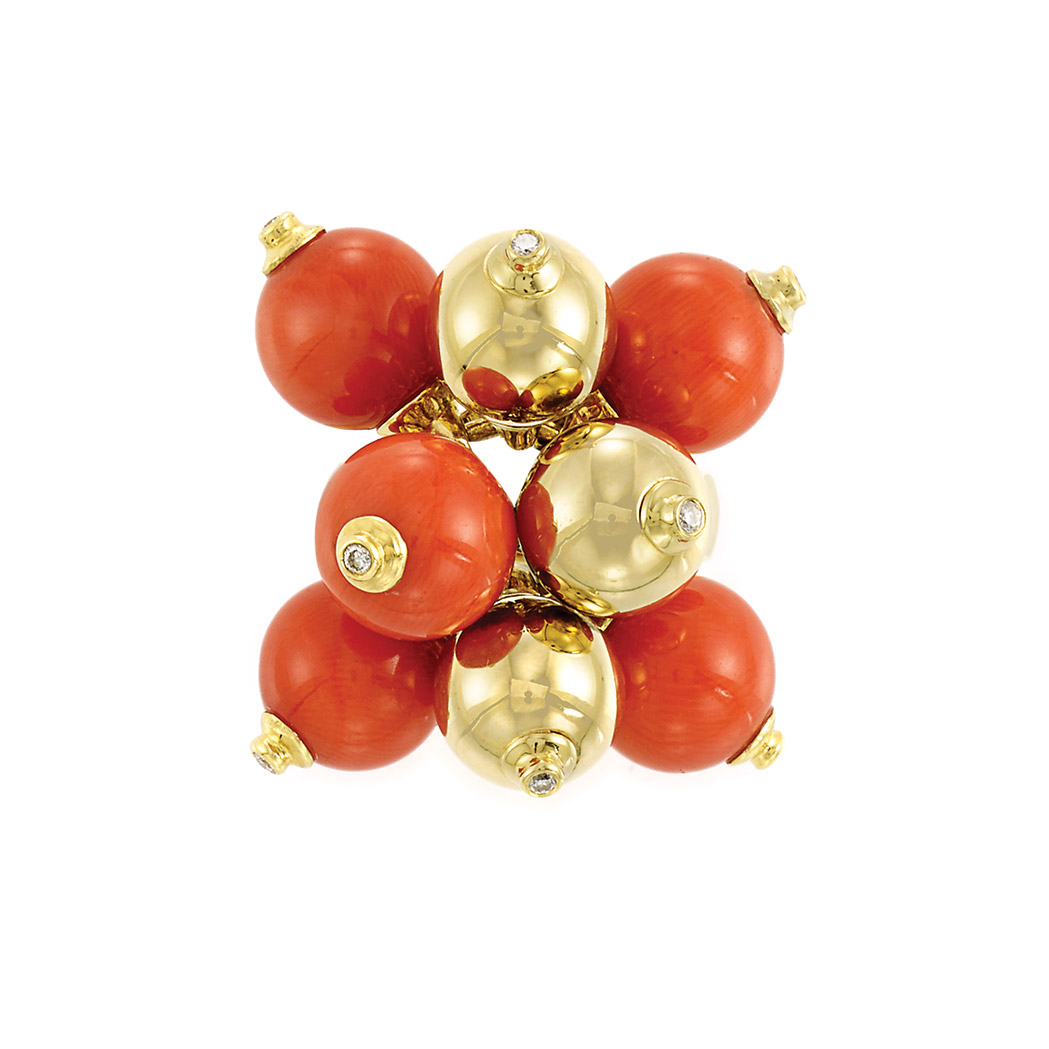 Lot image - Gold, Coral and Gold Bead and Diamond Cluster Ring