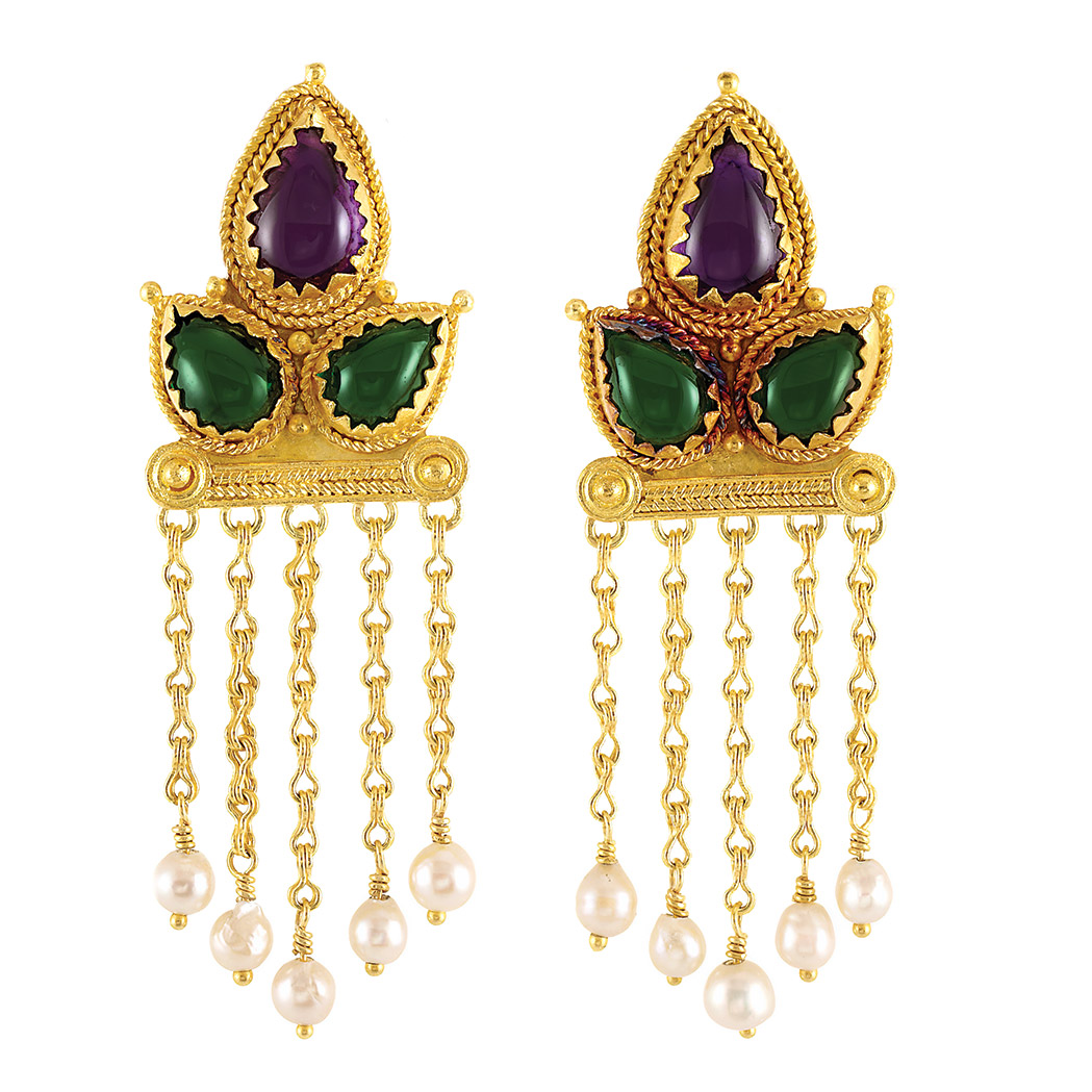 Lot image - Pair of Gold, Cabochon Gem-Set and Semi-Baroque Cultured Pearl Fringe Earrings