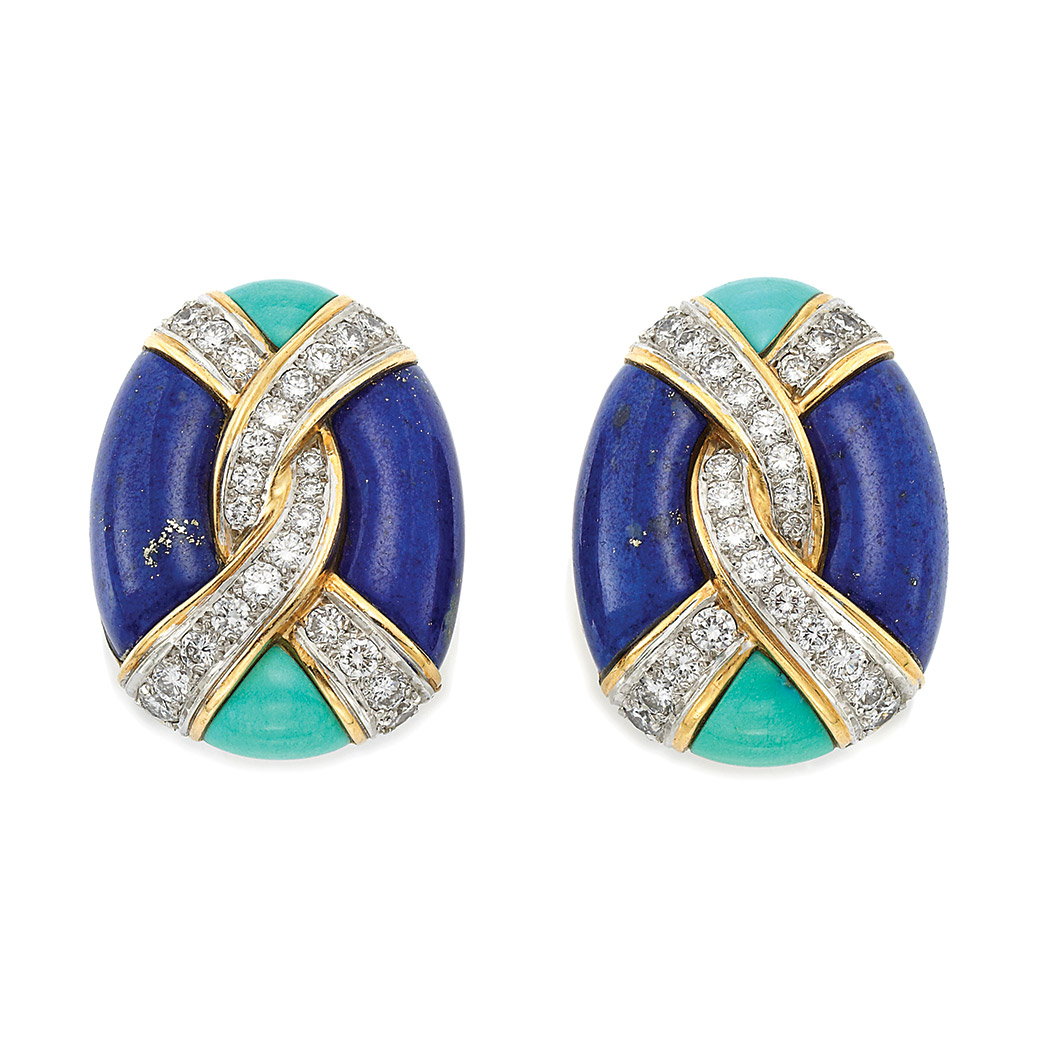 Lot image - Pair of Gold, Diamond, Lapis and Turquoise Earclips