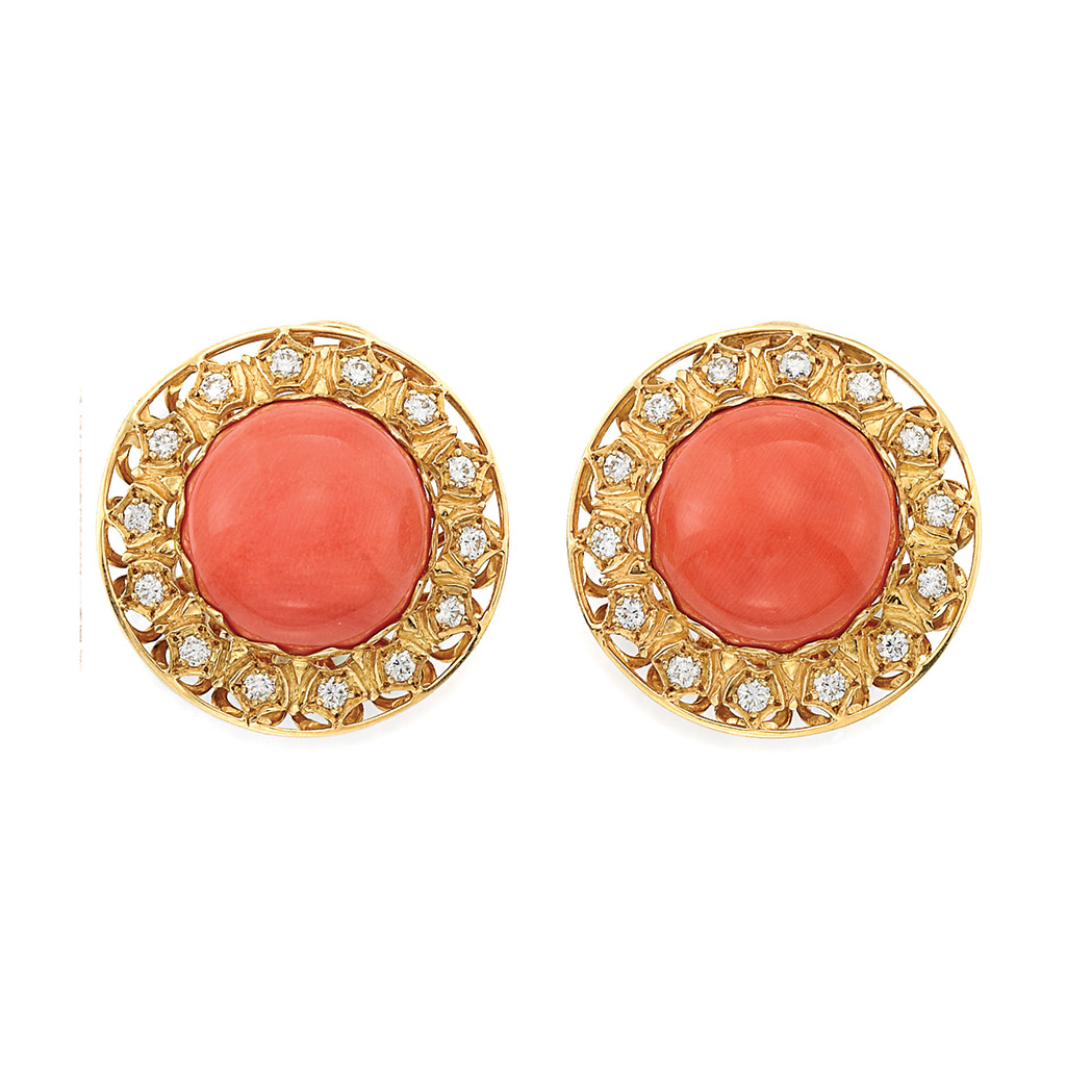 Lot image - Pair of Gold, Coral and Diamond Earclips