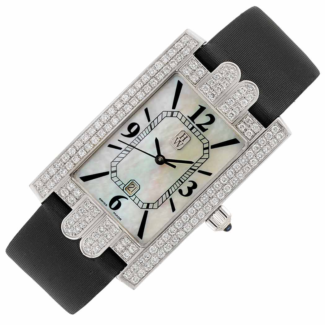 Lot image - Lady's White Gold, Mother-of-Pearl and Diamond 'Jumbo Avenue' Wristwatch, Harry Winston