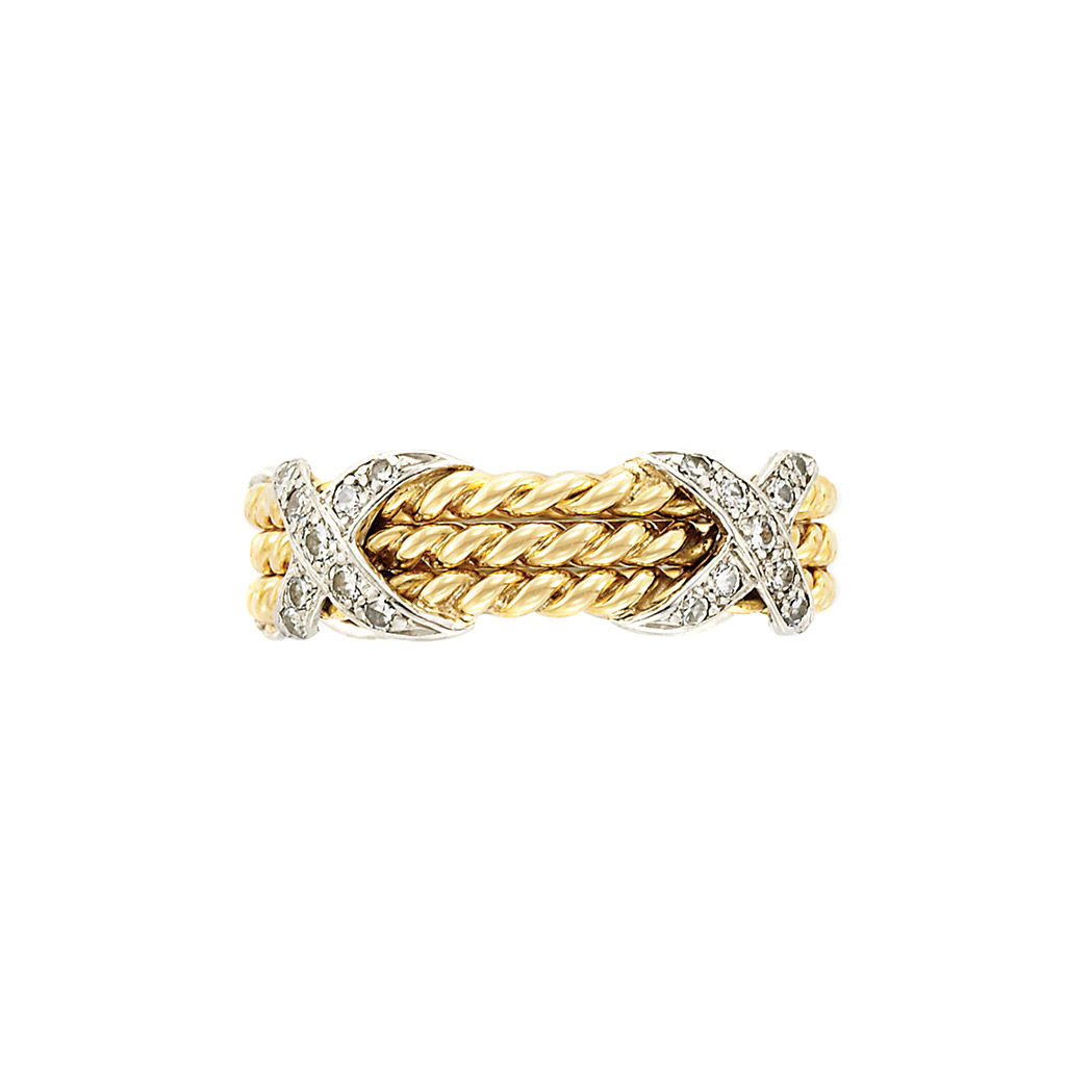 Lot image - Gold, Platinum and Diamond Band Ring, Tiffany & Co., Schlumberger