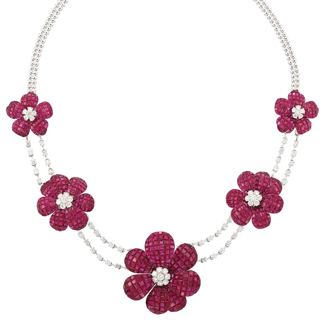 Lot image - White Gold, Diamond and Invisibly-Set Ruby Flower Necklace