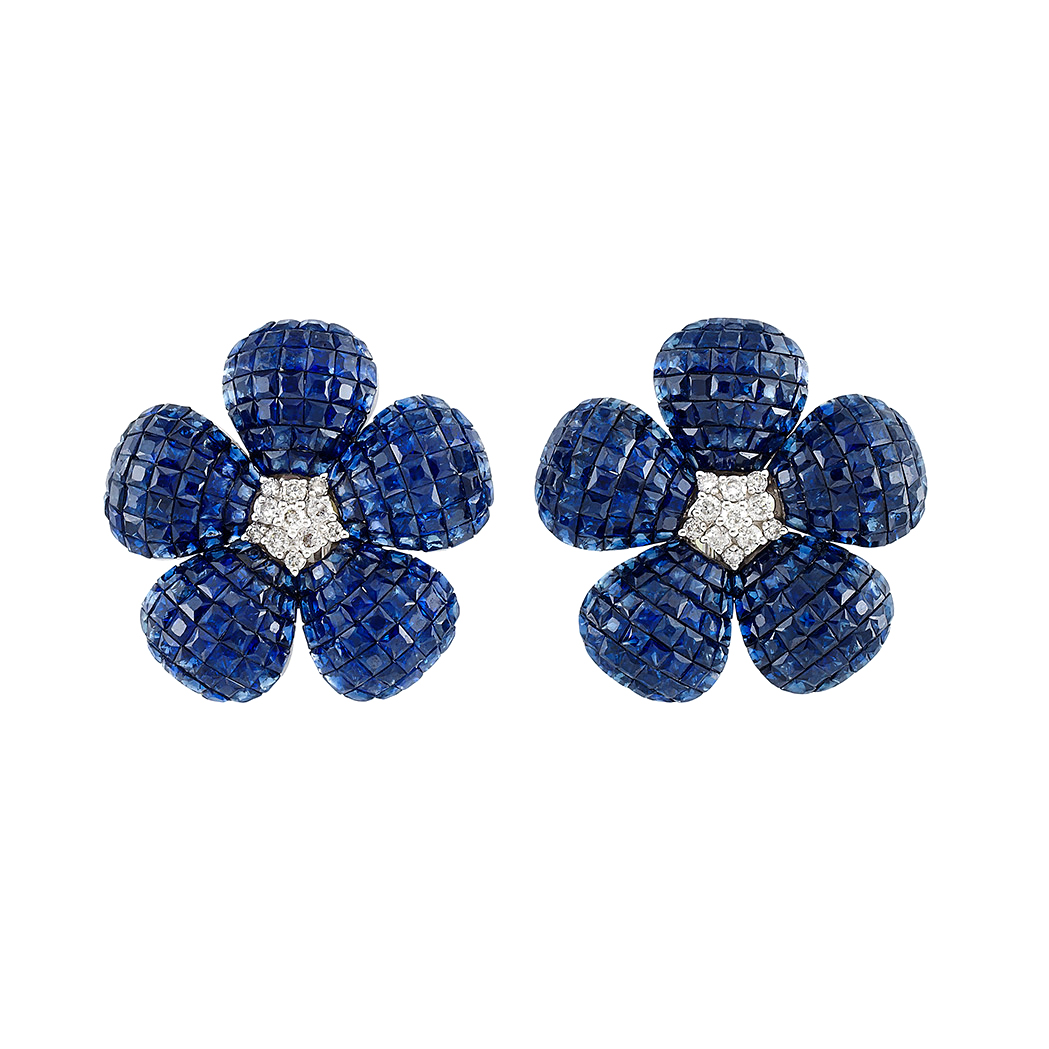 Lot image - Pair of White Gold, Diamond and Invisibly-Set Sapphire Flower Earrings