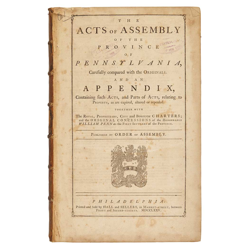 Lot image - [PENNSYLVANIA]  The Acts of Assembly of the Province of Pennsylvania...