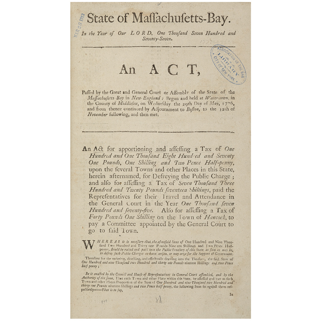 Lot image - [MASSACHUSETTS - REVOLUTION] State of Massachusetts-Bay. In the year of our Lord, one thousand seven hundred and seventy-seven...