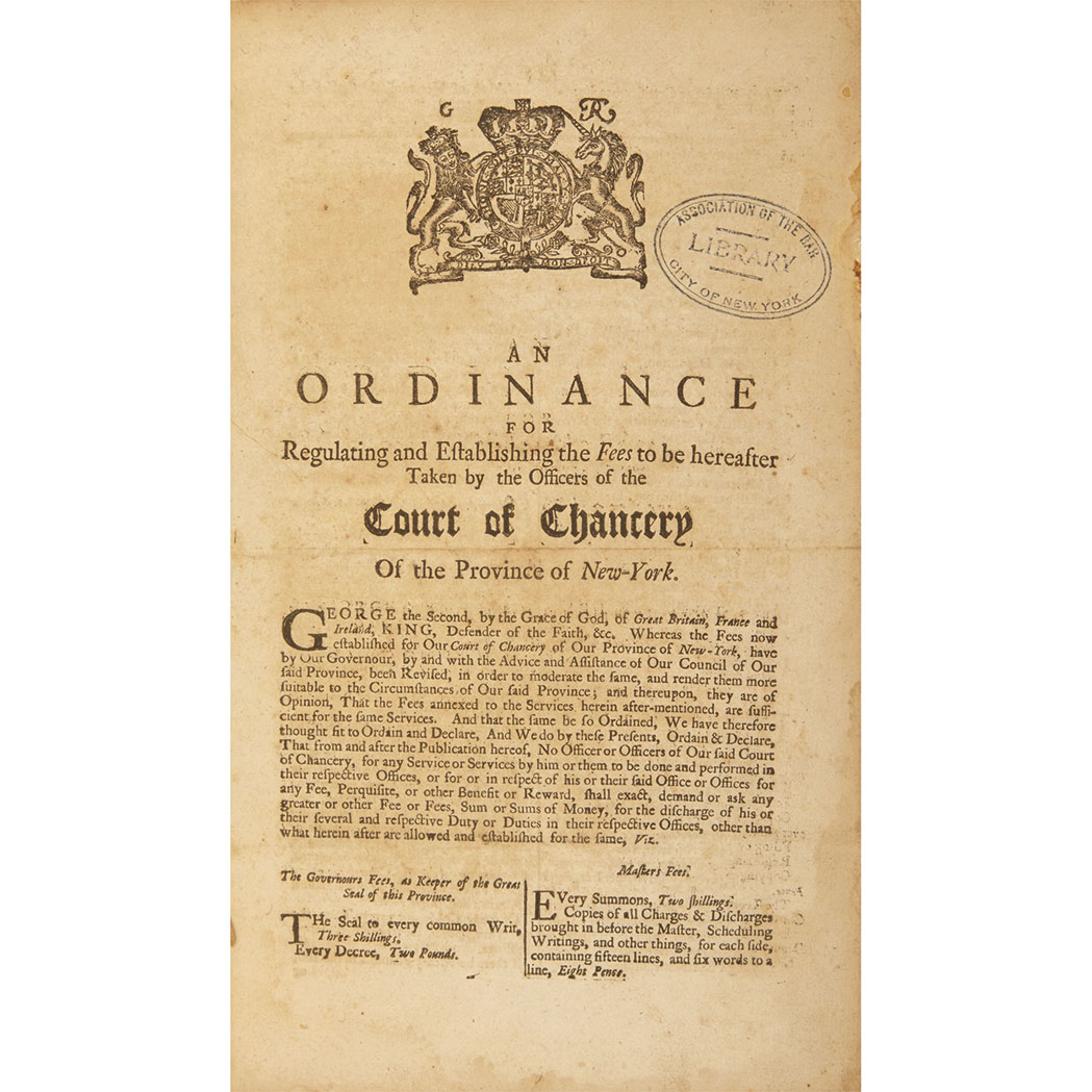 Lot image - [NEW YORK]  Group of four ordinances printed by Bradford