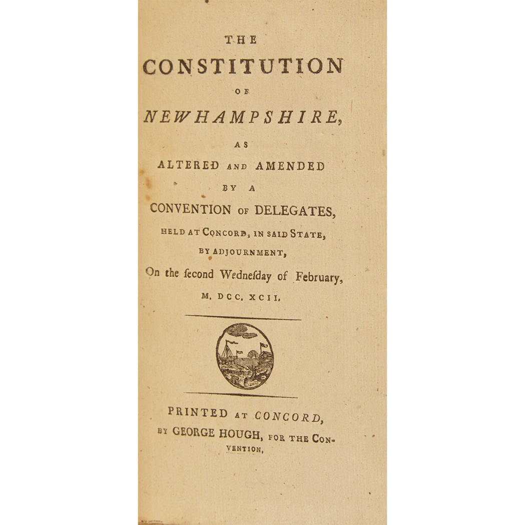 Lot image - [NEW HAMPSHIRE]  The Constitution of New Hampshire, as altered and amended by a convention of delegates, held at Concord, in said state, approved by the people, and established by the convention, on the first Wednesday of September, 1792