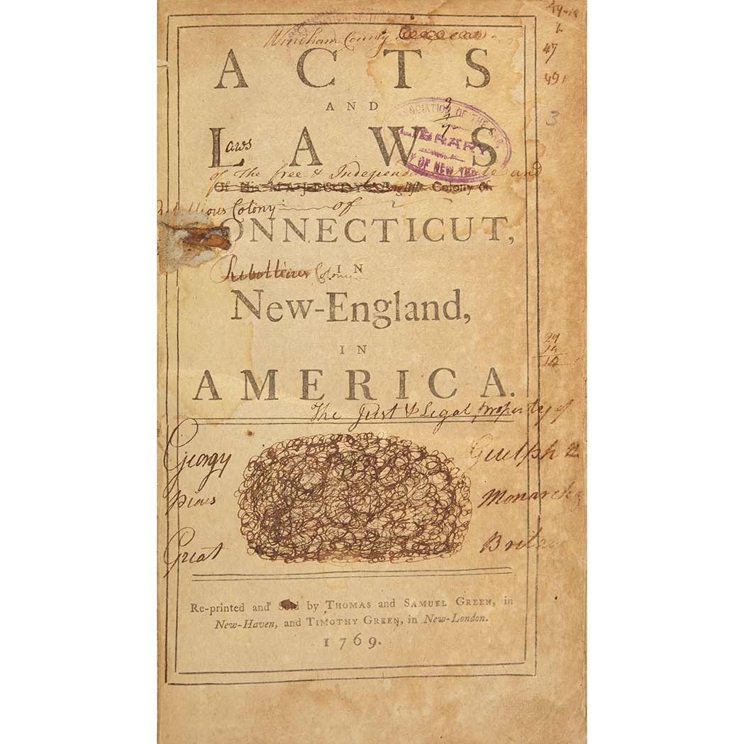 Lot image - [CONNECTICUT]  Acts and laws of His Majesty's English colony of Connecticut, in New-England, in America