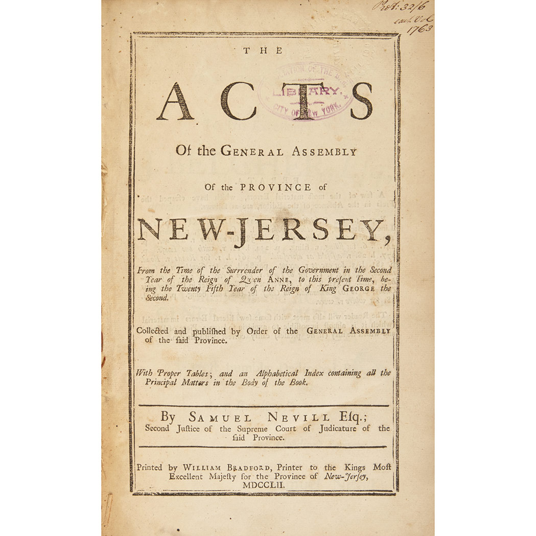 Lot image - [NEW JERSEY] NEVILL, SAMUEL. The Acts of the General Assembly of the Province of New-Jersey, From the Time of the Surrender of the G...